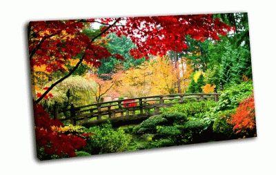 Картина осень, деревянный мост