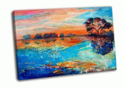 Картина осенний лес и небо