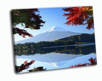 Картина осенняя листва возле озера кавагути