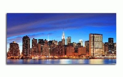 Картина панорама манхэттена в сумерках