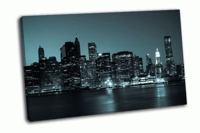 Картина панорамный вид на манхэттен ночью