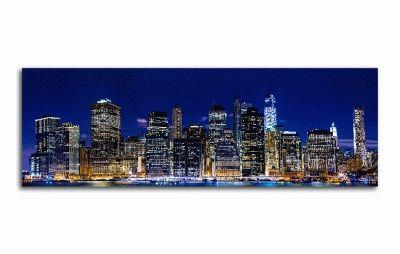 Картина панорамный вид ночного нью-йорка