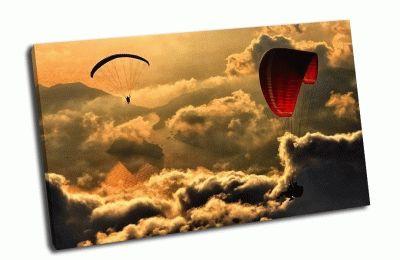 Картина парапланы в золотом небе