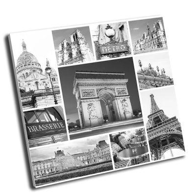 Картина париж коллаж в черно-белом