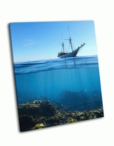 Картина парусная лодка в тропическом море