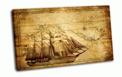 Картина парусник и карта
