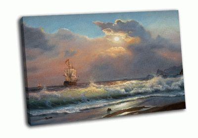 Картина парусник на фоне бушующего моря
