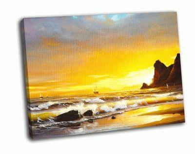 Картина парусник на фоне моря
