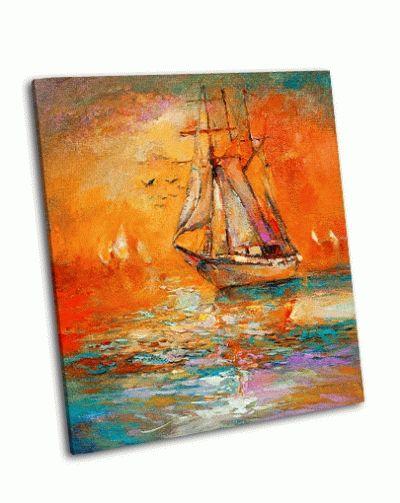 Картина парусник в море на холсте