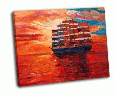 Картина парусный фрегат и море