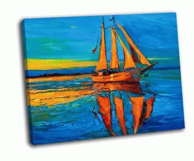 Картина парусный корабль и море на холсте