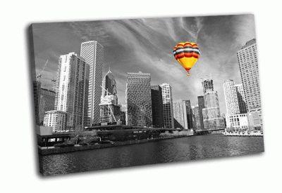 Картина пейзаж чикаго в черно-белом