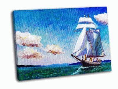 Картина плывет лодка