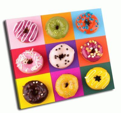 Картина пончики на красочном фоне