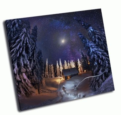 Картина путешествие через зимний лес