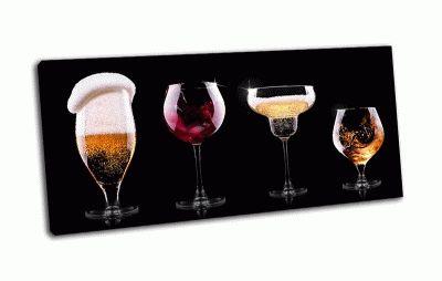 Картина разные напитки на черном фоне