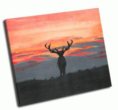 Картина роспись силуэта большого оленя