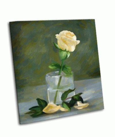 Картина роза в стакане