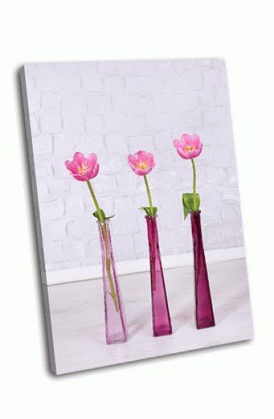 Картина розовые тюльпаны на сером фоне