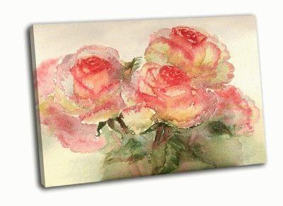 Картина розы акварелью