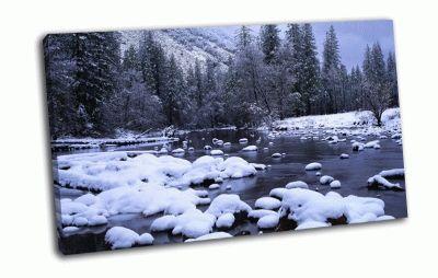 Картина ручей в лесу
