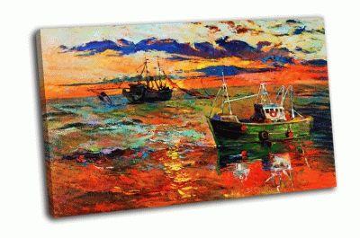 Картина рыболовные корабли в море