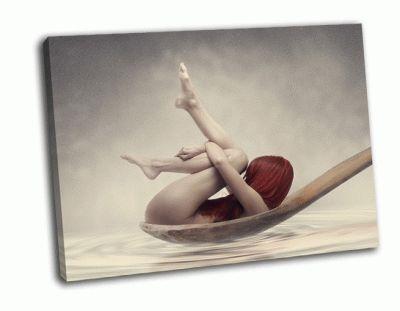 Картина рыжая женщина в деревянной ложке
