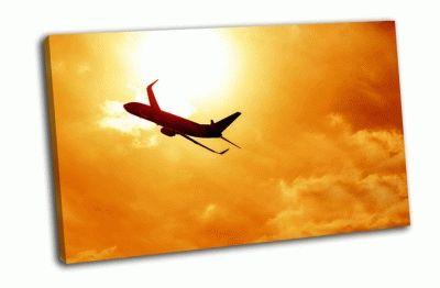 Картина самолет на оранжевом закате