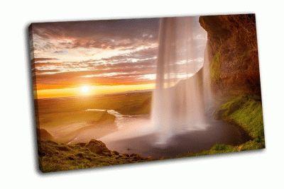Картина сельяландфосс-красивый водопад в исландии