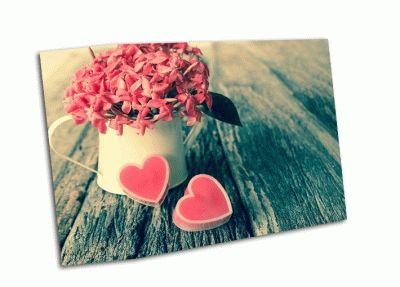 Картина сердце и цветы