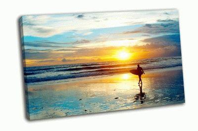 Картина серфер на берегу океана, бали