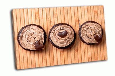 Картина шоколадные маффины с ореховым кремом