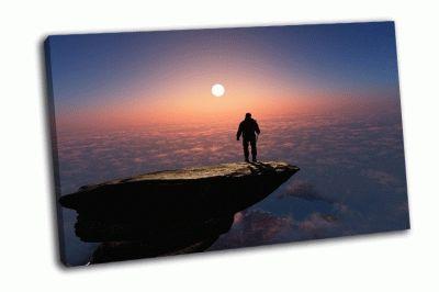 Картина силуэт человека на скале