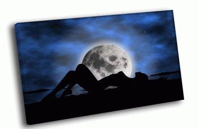 Картина силуэт девушкин фоне луны