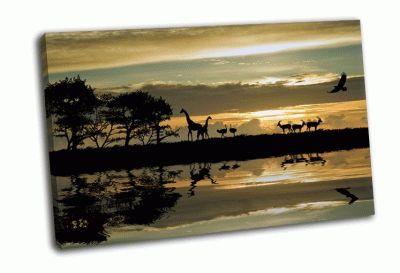 Картина силуэт животных в африке