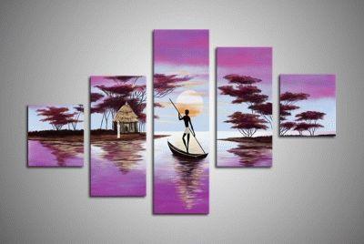 Картина силуэт плывущий в лодке