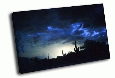 Картина синие грозовые облака в пустыне