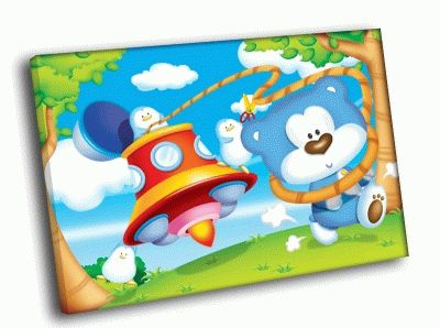 Картина синий мишка и пингвины