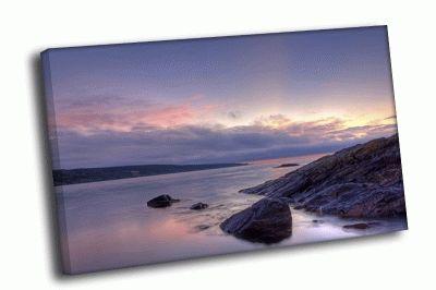 Картина сиреневый закат над заливом