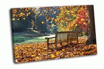 Картина скамейка в осеннем парке