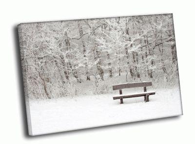 Картина скамейка в снегу