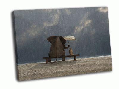 Картина слон и собака под дождем