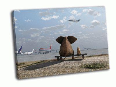 Картина слон и собака сидят в аэропорту