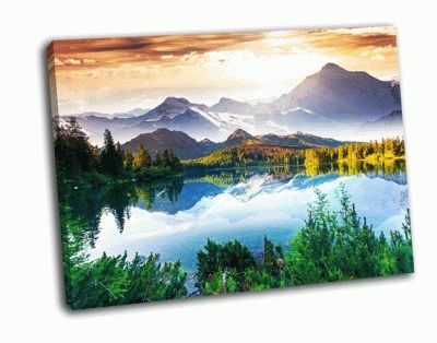 Картина солнечный день и горное озеро