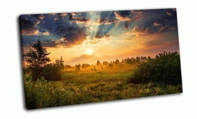 Картина солнечный рассвет в поле