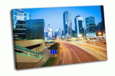Картина современные городские здания в гонконге
