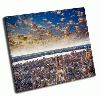 Картина современный город небоскребов