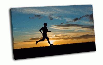 Картина спортсмен бегущий на закате