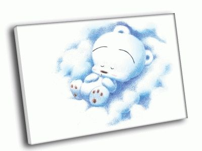Картина спящий белый мишка
