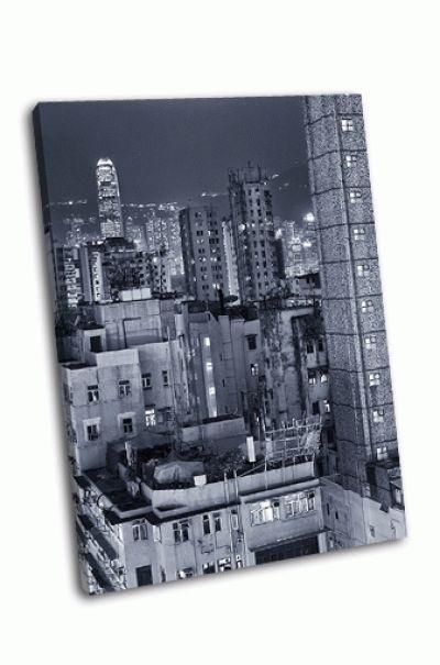 Картина старые и новые здания в гонконге